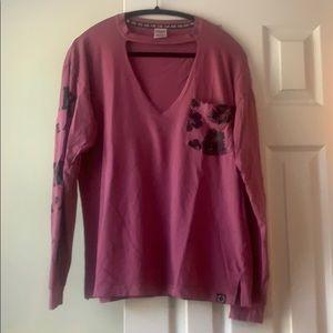 VS Pink oversized mauve tropical cutout top, sz M